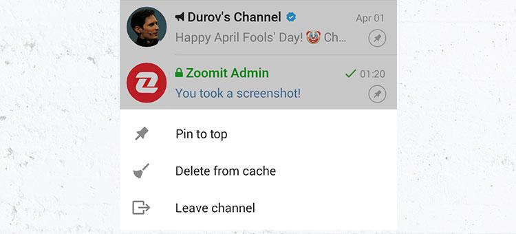 آموزش تصویری چسباندن چتهای مهم به بالای لیست (پین کردن Pin) در تلگرام