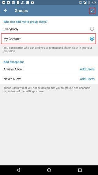 آموزش تصویری جلوگیری از دعوت ناخواسته به گروه و کانال در تلگرام