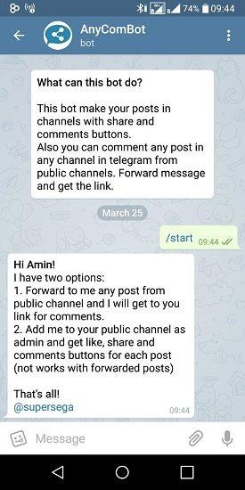 آموزش تصویری کامنت گذاشتن در کانال تلگرام با ربات AnyComBot