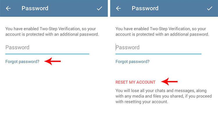 آموزش بازیابی رمز درصورت فراموش کردن رمز دو مرحله ای Two Step Verification تلگرام