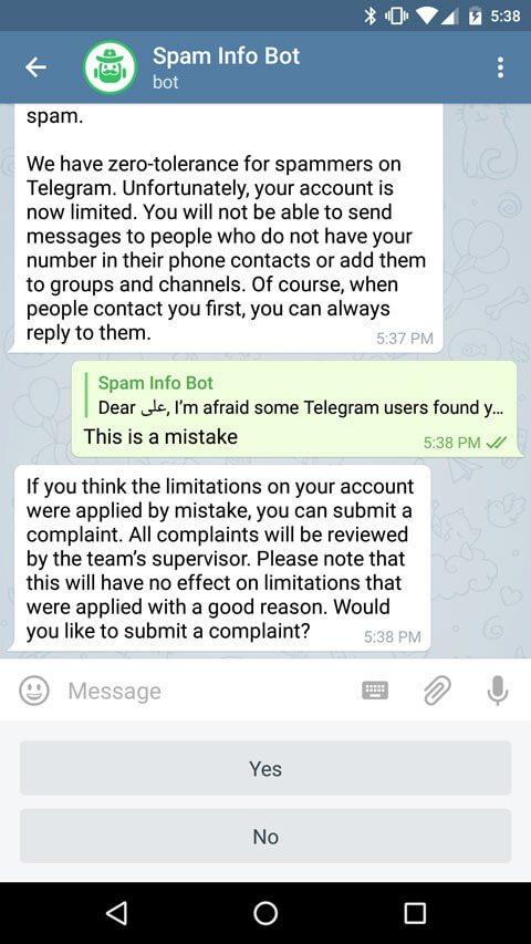 خروج از ریپورت تلگرام ربات اسپم بوت