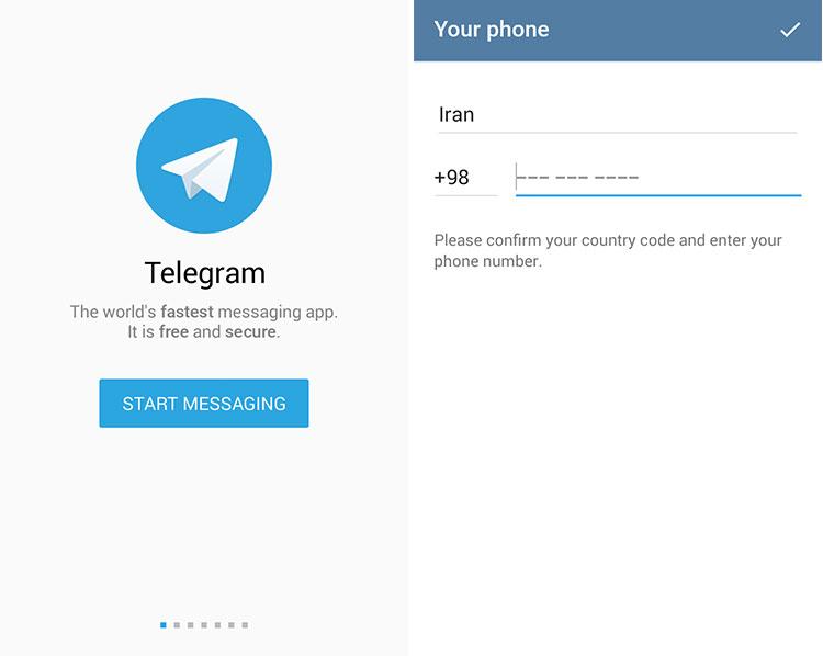 آموزش تصویری نحوه ثبت نام (sign up) در تلگرام