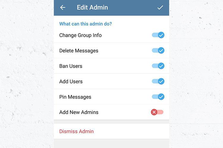 آموزش تصویری تعیین سطح دسترسیهای ادمین سوپرگروه تلگرام